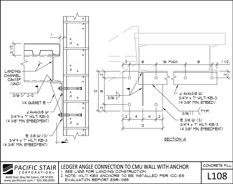 l108 concrete filled landing ledger angle connection to cmu wall