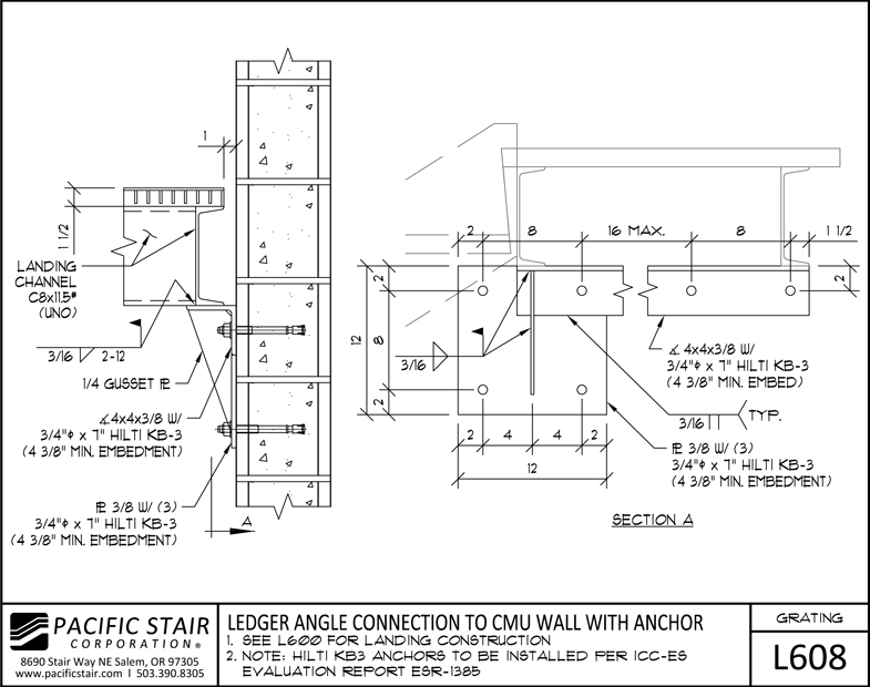 L608 Grating Landing   Ledger Angle Connection To CMU Wall With Anchor ...