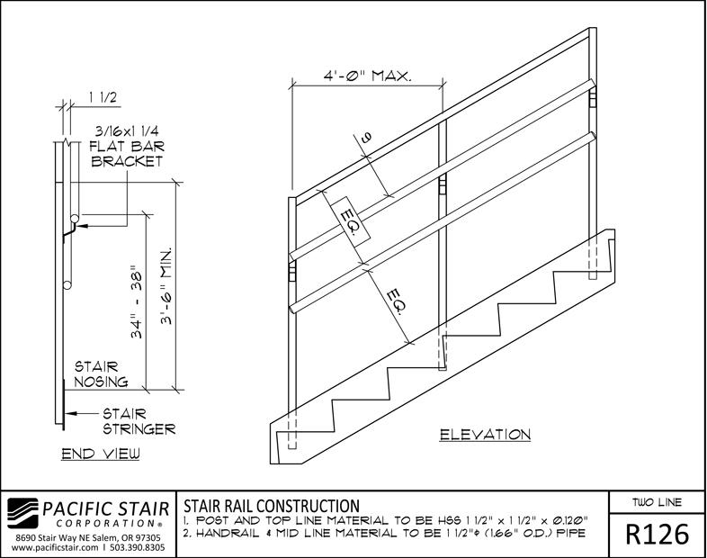 Superieur R126 Two Line Rail   Stair Rail Construction