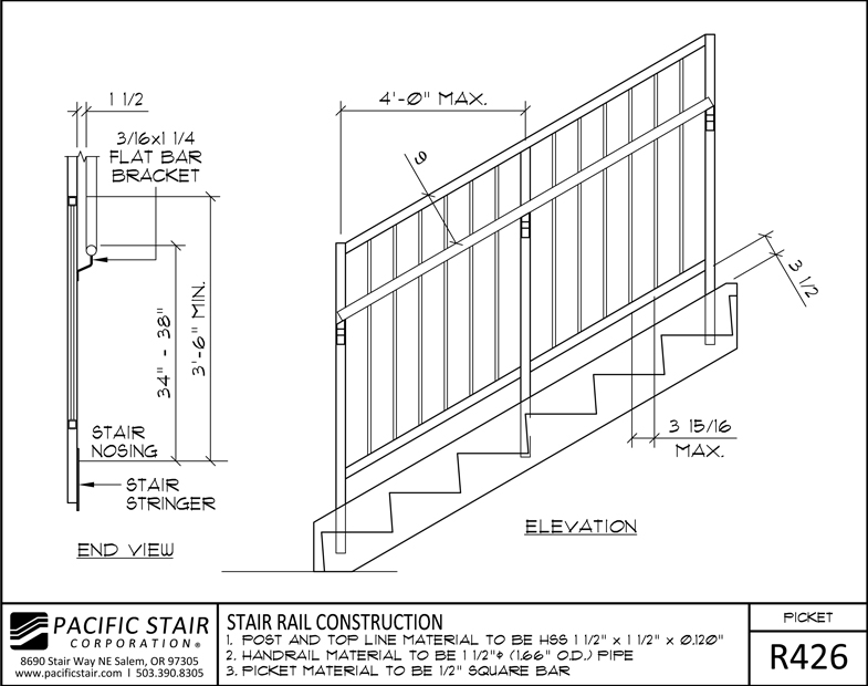 Lovely R426 Picket Rail   Stair Rail Construction ...