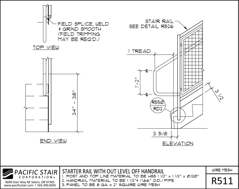 R511 Wire Mesh Rail   Starter Rail With Out Level Off Handrail ...