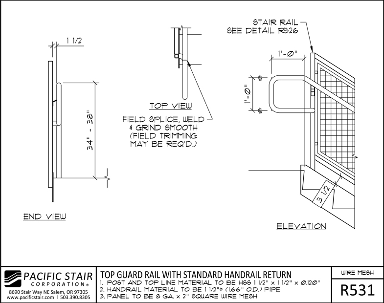 Wire Mesh Guard Railing Details - WIRE Center •