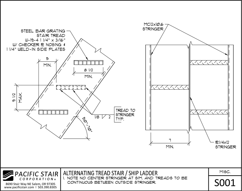 S001 Alternating Tread Stair / Ship Ladder ...
