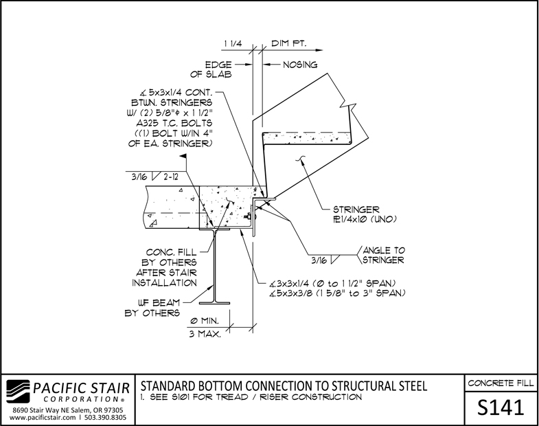 S141 Concrete Filled Stair   Standard Bottom Connection To Structural Steel  ...