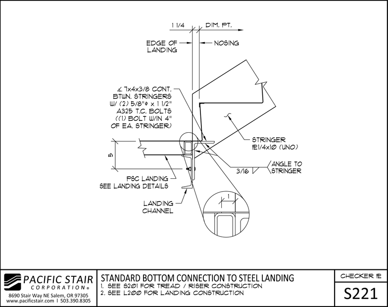 S221 Checker Plate Stair   Standard Bottom Connection To Steel Landing ...