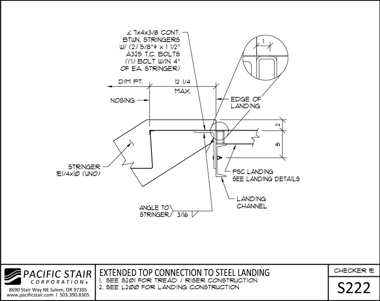 S222 Checker Plate Stair   Extended Top Connection To Steel Landing ...