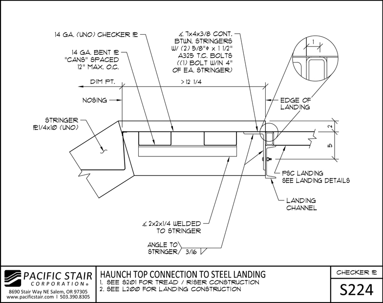 S224 Checker Plate Stair   Haunch Top Connection To Steel Landing ...