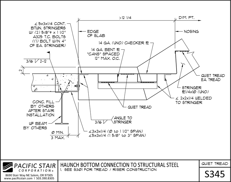 S345 Quiet Tread Stair   Haunch Bottom Connection To Structural Steel ...