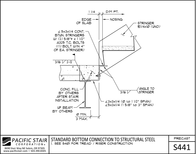 S441 Precast Stair   Standard Bottom Connection To Structural Steel ...