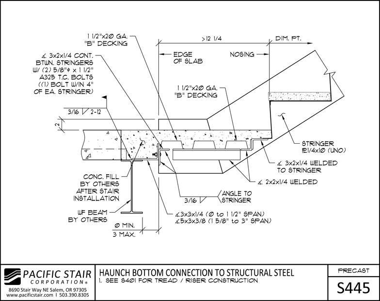 Structural Steel Connections Dwg : L precast pacific stair corporation