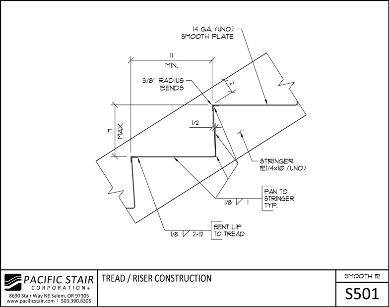 Nice S501 Smooth Plate Stair   Tread / Riser Construction