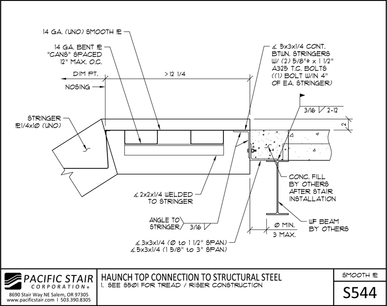 Structural Steel Connections Dwg : L smooth plate pacific stair corporation
